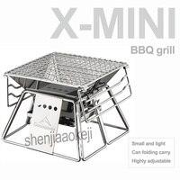 Portátil de aço inoxidável mini grill para churrasco forno antiaderente dobrável churrasqueira casa/acampamento ao ar livre piquenique ferramenta