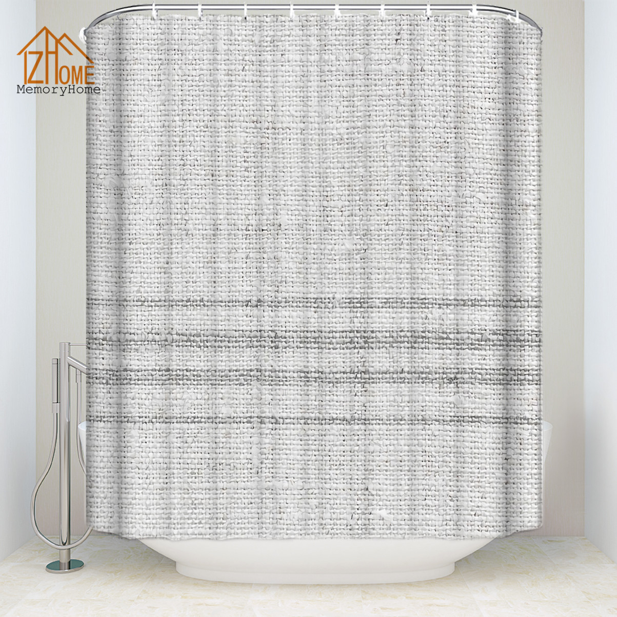 Us 17 67 32 Off Memory Home Vintage Farmhouse Grain Sack Printed Polyester Shower Curtain Waterproof Fabric Shower Curtain Bathroom Decor In Shower