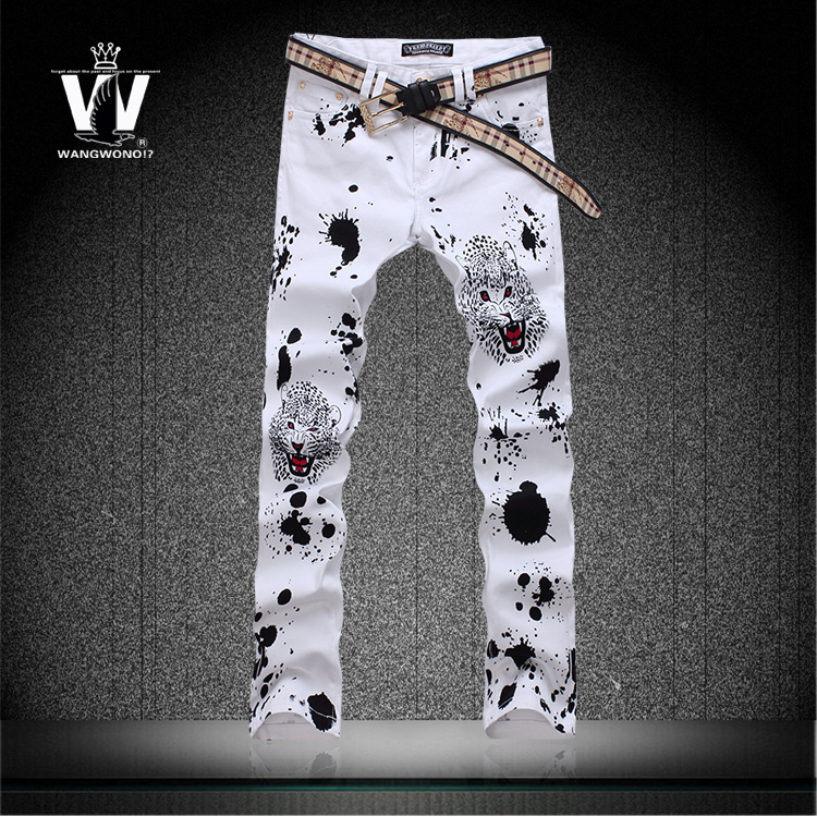 Summer style drawing print jeans male slim leopard head flower 100 cotton pants mens skinny jeans