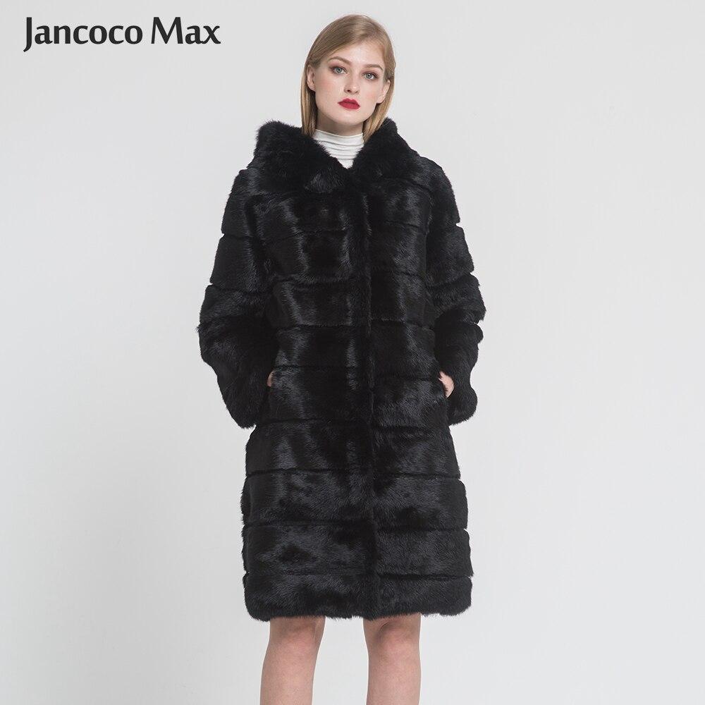 2019 зимние теплые Для женщин с натуральным кроличьим мехом длинное пальто Одежда высшего качества меховая верхняя одежда с капюшоном Женски...
