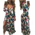 2016 Estilo Del Verano de Las Mujeres Vestido Largo V Cuello Estampado Floral Dividir Maxi Vestido Elegante Casual Vestidos Vestidos de Playa de Arena