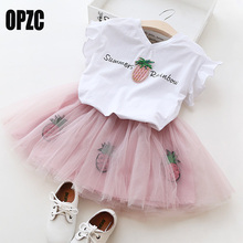OPZC Toddlers Girls Clothing Sets 2017 Summer Letters Casual Blouse + Tutu Lace Shorts Suits Kids Clothes