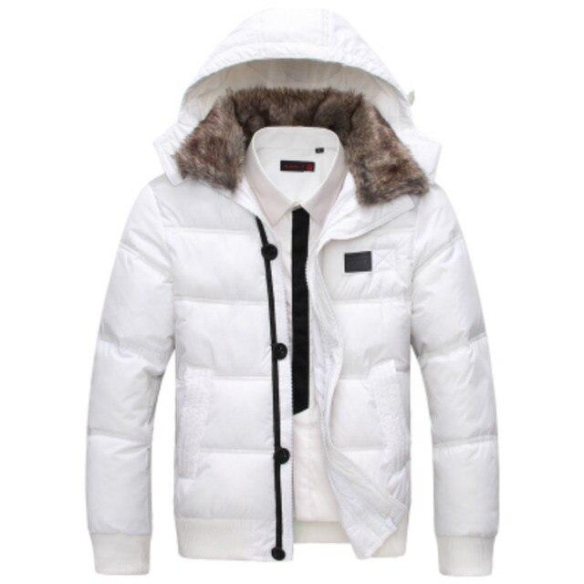 2014 зима модно случайный большой меховой воротник тонкий короткий дизайн утолщение хлопка-ватник съемный колпачок мужской ватные