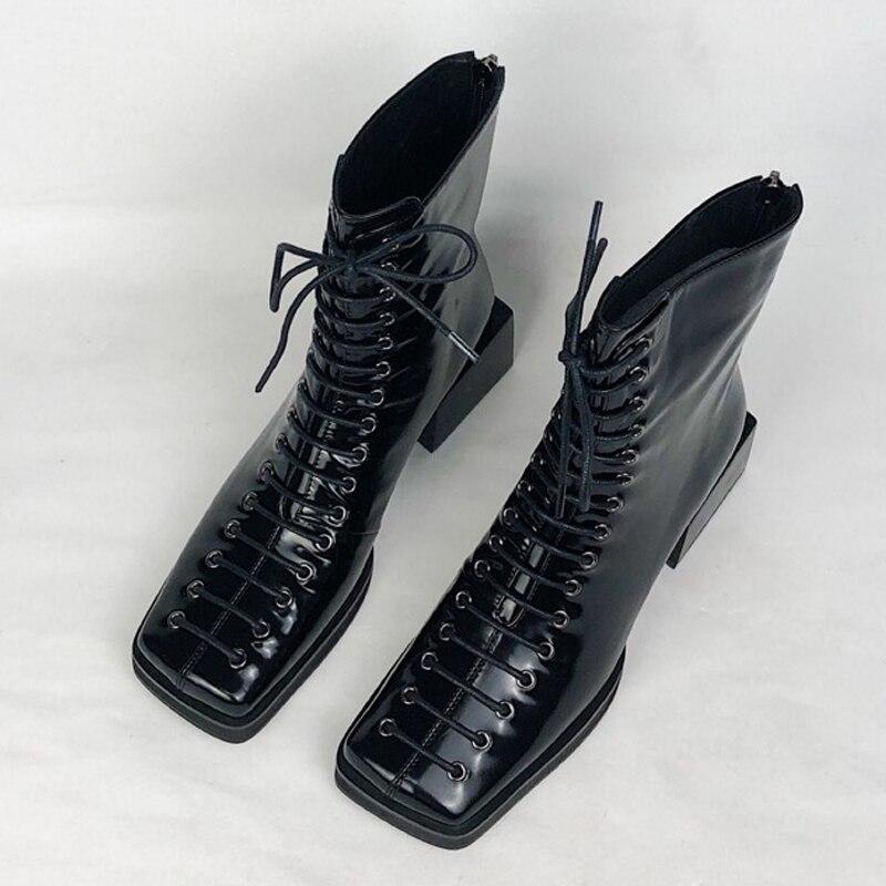 Nuevas botas de cuero genuino con cordones para mujer con tacón cuadrado para mujer botas-in Botas hasta el tobillo from zapatos    3
