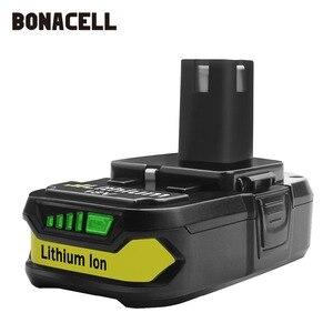 Image 2 - Bonacell 18V 3000mAh P107 Batterie Ersatz für Ryobi P104 P105 P102 P103 P107 Cordless Li Ion Batterie L50