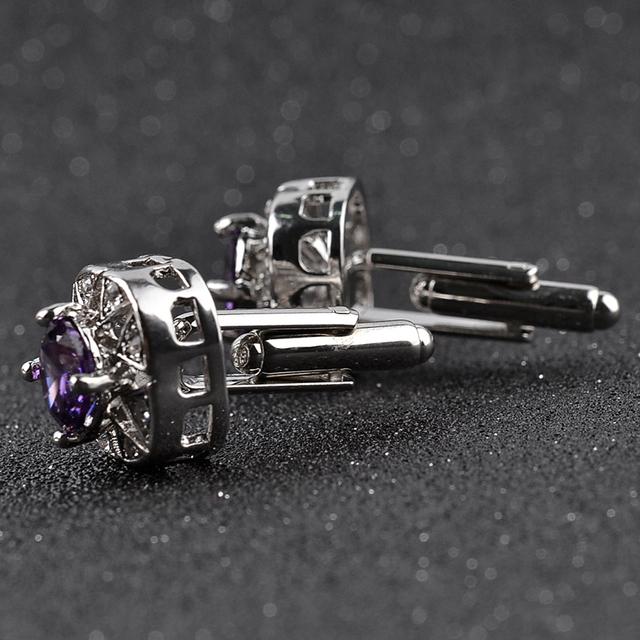 Hollow Zircon Cuff Links Purple Crystal Button Mens Shirt Cufflinks Business