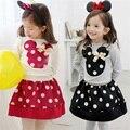 2016 Niños ropa de manga larga de Punto de mickey T-shirt + Skirt 2 Unids Traje vestido de niña ropa de los cabritos sets bebé vestidos princesa