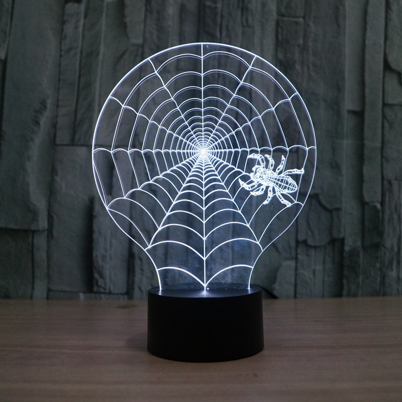 Novelty Luminaria Led 3d Light Spider net colorful touch LED lamp gift atmosphere desk lamp 3d USB 7 color change Table Lamps