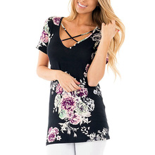 t shirt Loose Short sleeves Hollow Out Print Floral V-Neck summer t-shirt women vogue popular tee shirt femme недорго, оригинальная цена