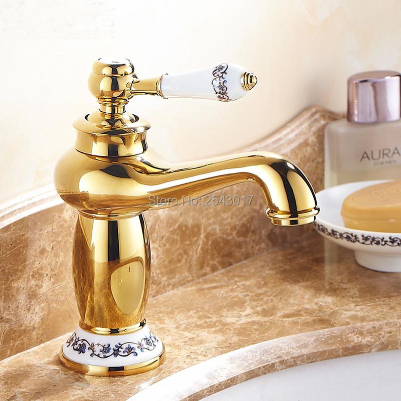 Bathroom Mixer Tap Ceramic Golden Finish Basin Sink Mixer Faucet Hot and Cold Water Tap ZR411 flg luxury basin faucet bathroom sink mixer golden finish cold and hot brass tap water faucet single handle basin mixer tap m088