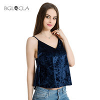 2017 Women Velvet Crop Top Summer Strappy Swing Women S Tops Tees Tanks Camis Sexy Sleeveless
