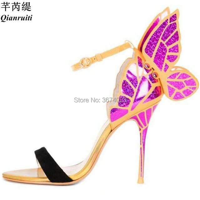 Qianruiti Women Metallic Bling Angel Wings Sandals Ankle Strap Evangeline  Dress High Heels Mixed Color Bow Sandals 10 cm d34ea77f2f47
