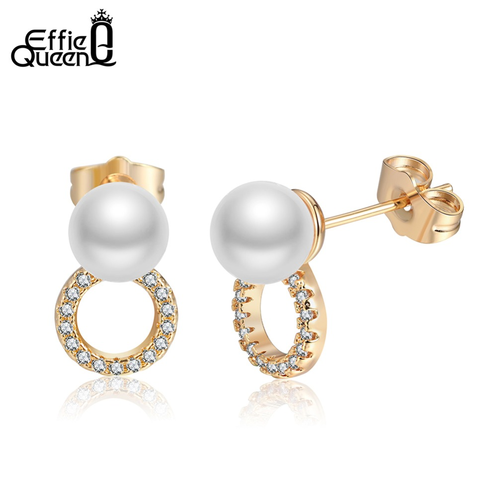 Effie Queen Silver & Gold Color Stud Earrings for Women 2018 Round Pearl Earrings Female Crystal Party Jewelry Gifts DDE48