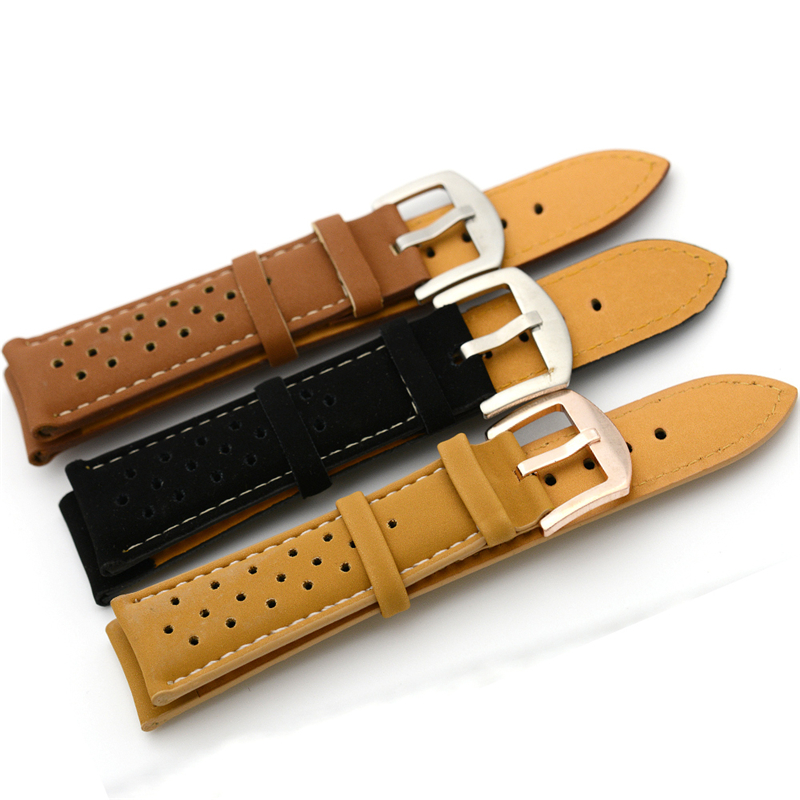 Mesh Watchbands 2016 PU Leather Material Needle Buckle Men Watch Strap 24mm Black Brown And Light Brown Male Sport Clock Belt 2017 new yohe full face motorcycle helmet yh 970 double len knight motor racing helmets made of abs pc lens racing color