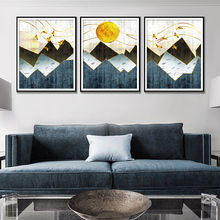 Abstract Watercolor Canvas Painting Sun Bird Home Decoration Minimalist Mountain Living Room Posters And Prints