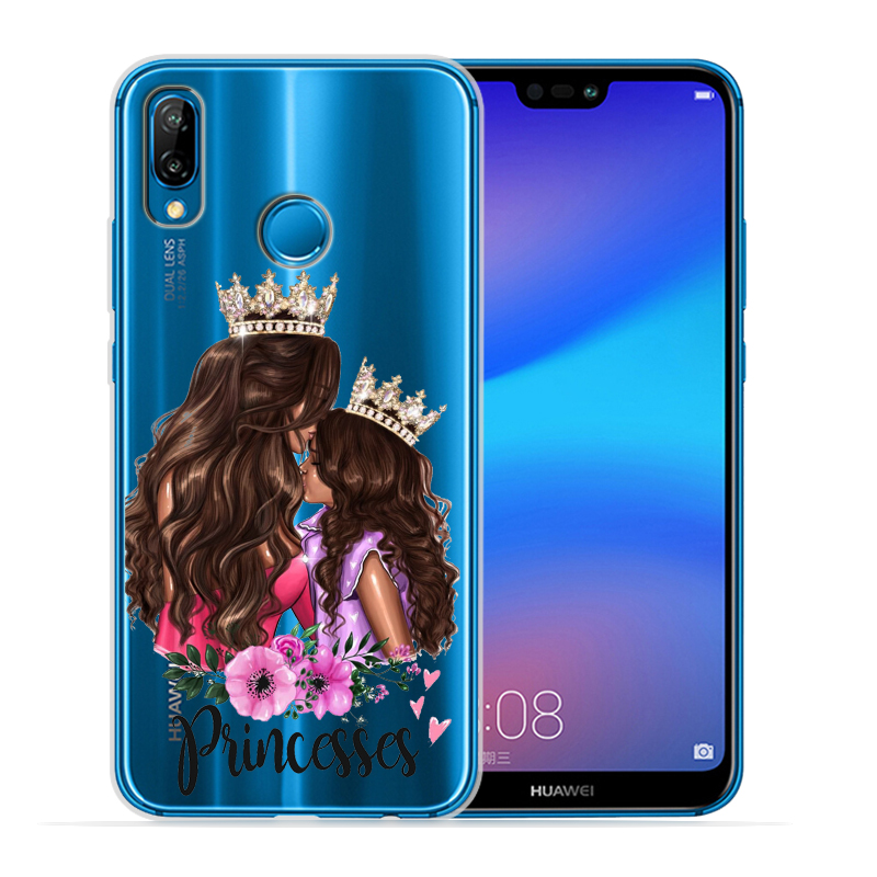 Чехол для телефона с черными и коричневыми волосами для мамы и дочки Huawei P30 Lite P30 Pro P20 Lite P8Lite P9Lite P10 P Smart Capa - Цвет: 03