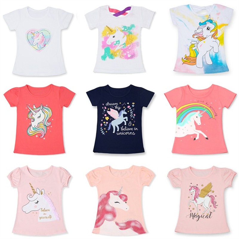 Unicorn T-Shirt for Girls Summer Clothing Fashion Boys Cartoon Tees Unisex Cartoon Short Sleeves Tops for Kids 3 5 8 Years(China)