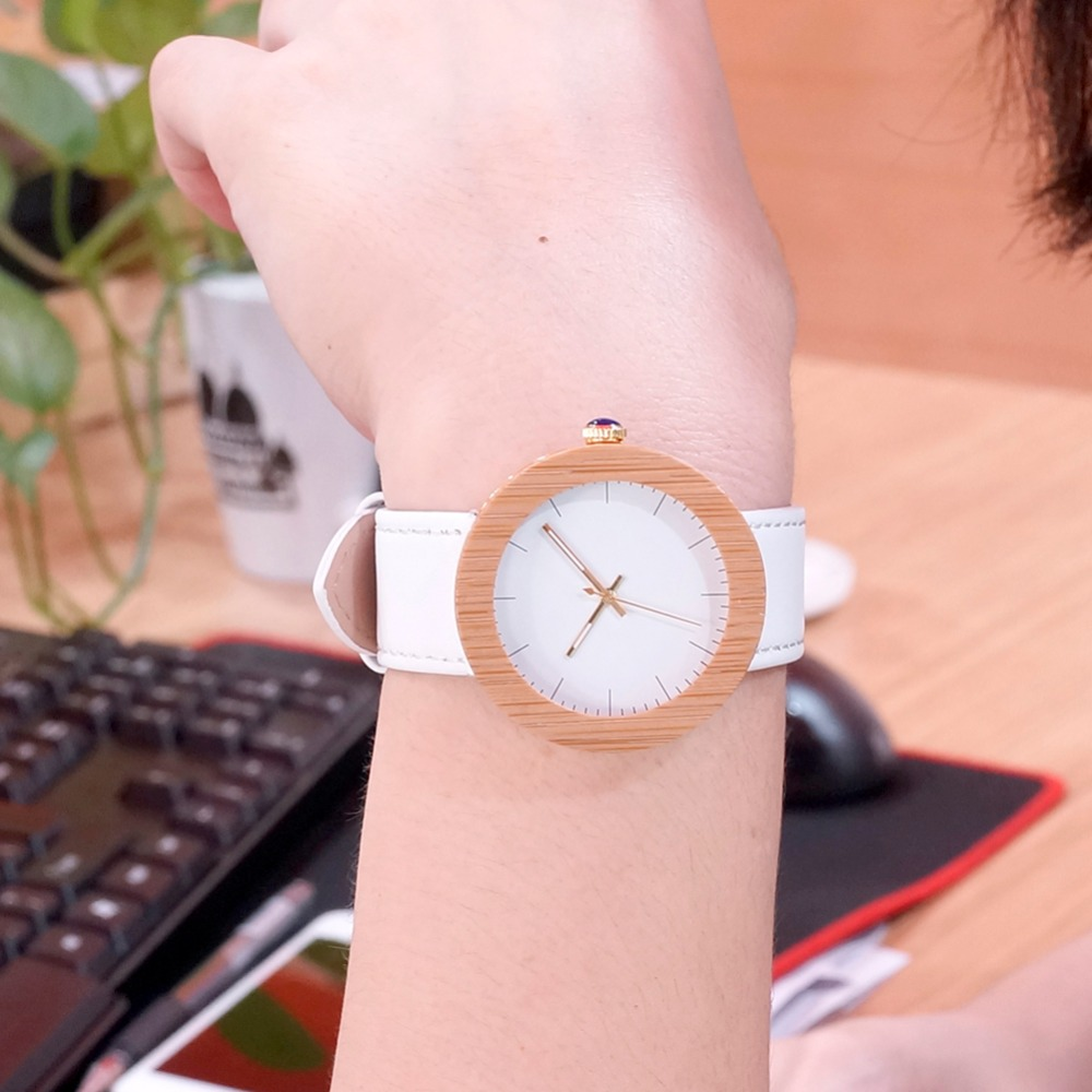 BOBOBIRD Womens Bamboo and Maple Ferrels with Gold Back Case Japan Quqrtz Movement as Good Gift