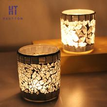 Simple Modern Handmade Silver White Candle Holder Mosaic Glass Candlestick Party Wedding Cup Home Decoration