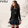 Artka ретро женская зимняя одежда круглым воротником с длиным рукавом черный нерегулярный пуловер удобный облегающий высококачественный элегантный вязаный  шерстяной свитер YB18238D