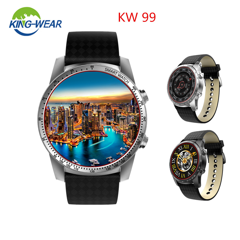 KingWear KW99 3G Smartwatch Phone Android 5.1 MTK6580 Quad Core 1.3GHz 8GB ROM Heart Rate Monitor GPS Pedometer 1.39Smart Watch jrgk kw99 3g smartwatch phone android 1 39 mtk6580 quad core heart rate monitor pedometer gps smart watch for mens pk kw88