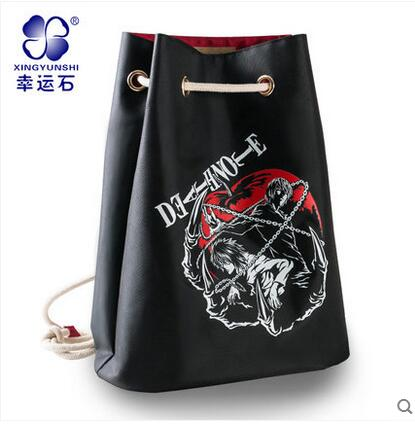 Free shipping DEATH NOTE Top Anime Japanese casual backpack Drawstring beam port Cartoo L Yagami Light schoolbag Shoulders bags death note necklace japan anime l ryuuzaki zinc alloy silver necklaces retail bulk free shipping