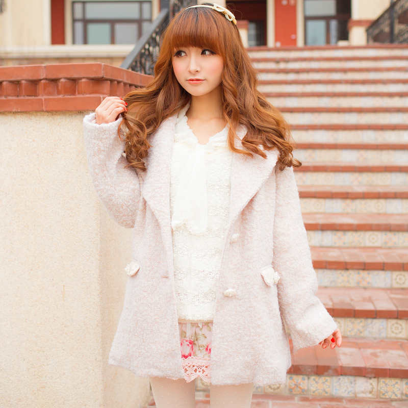 Doux Vent Manteau Couleur Col Pur Chaud Bf Sœur Japonais Uf147 Princesse Système Et Beige Long Sweet Lolita Avec Femmes AwEBxnI0