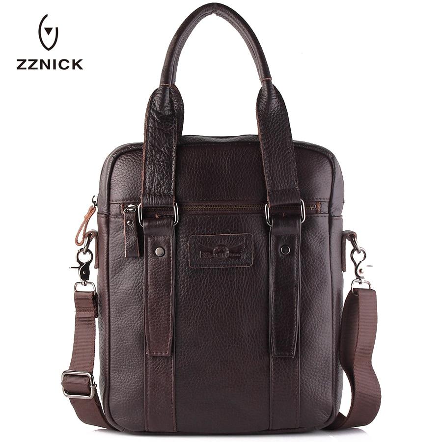 ФОТО ZZNICK 2017 Genuine Leather Men Messenger Bags Men's Briefcase Man Fashion Crossbody Shoulder Bags Lap Top Handbag High Capacity