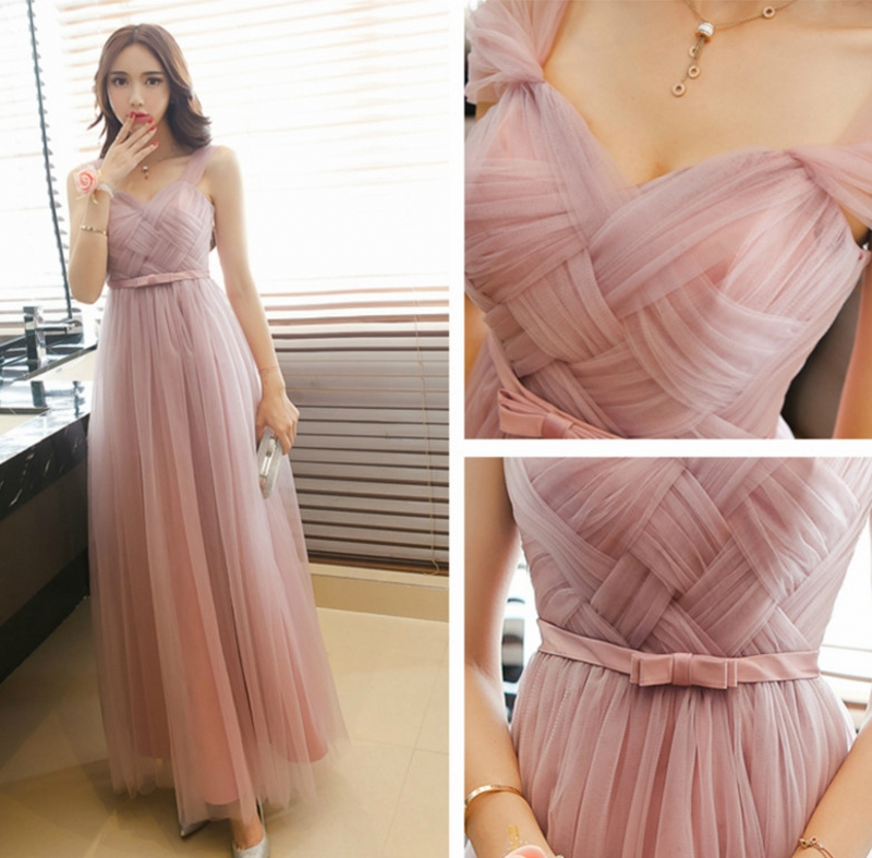 Dusty Pink Long Bridesmaid Dresses 2019 Sweetheart Tulle Cheap Pleated Prom Party Gowns Maid Honor Dresses Dama Dresses Vestiods