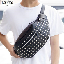2017 NEW belt bag men fanny pack leg motorcycle Chest waist Steam punk Holster Rivets purse rinonera Bags