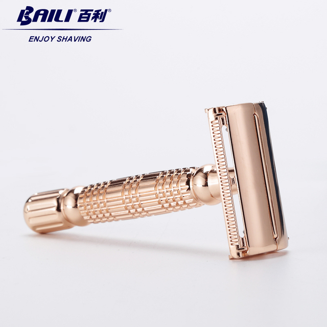 BAILI Twist Butterfly Open Classic Double Edge Blade Safety Shaving Razor Shaver Handle Holder +Blade +Mirror Case BD177 1