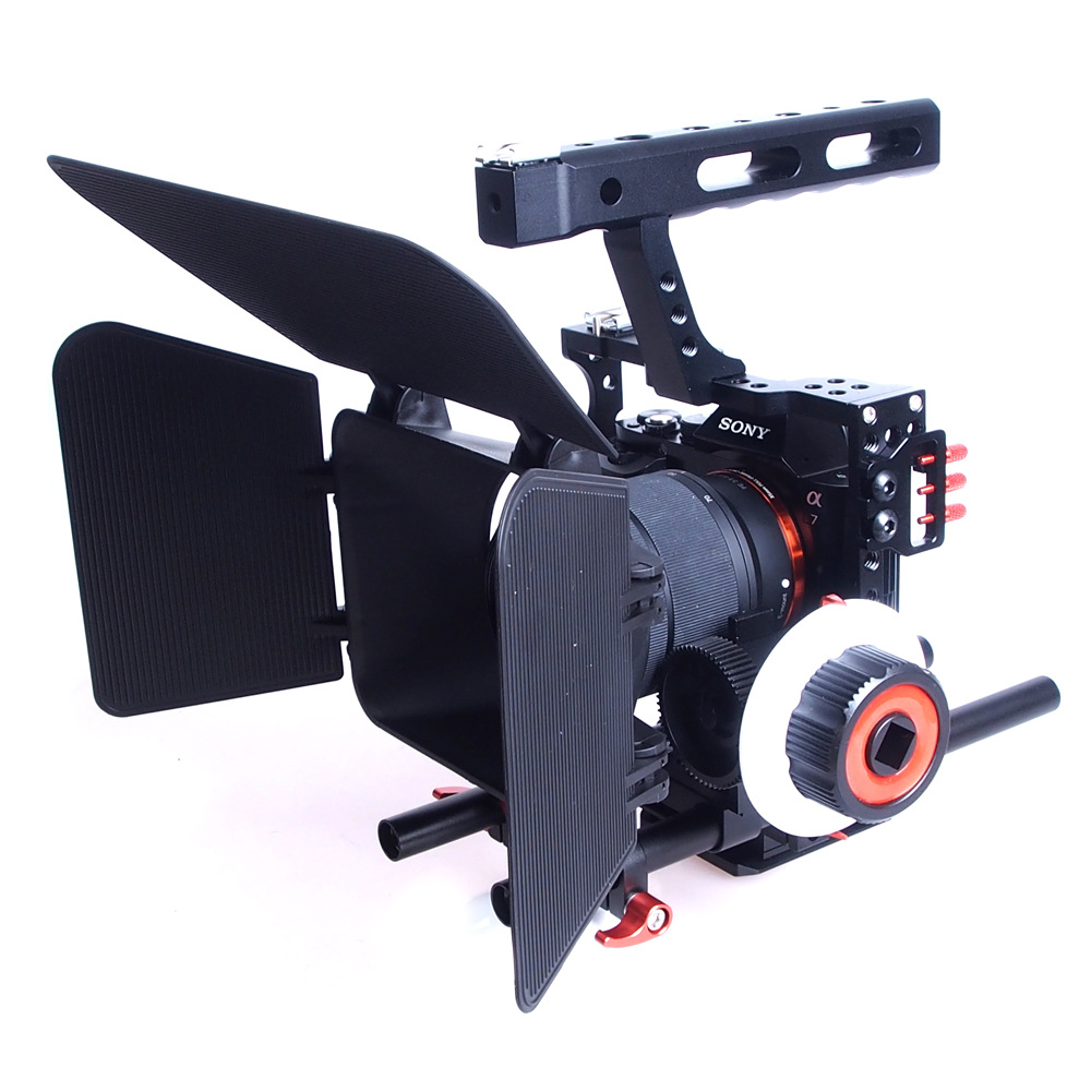 Aluminum Alloy Handheld Camera Video Support Kit DSLR Cage Set with Follow Focus