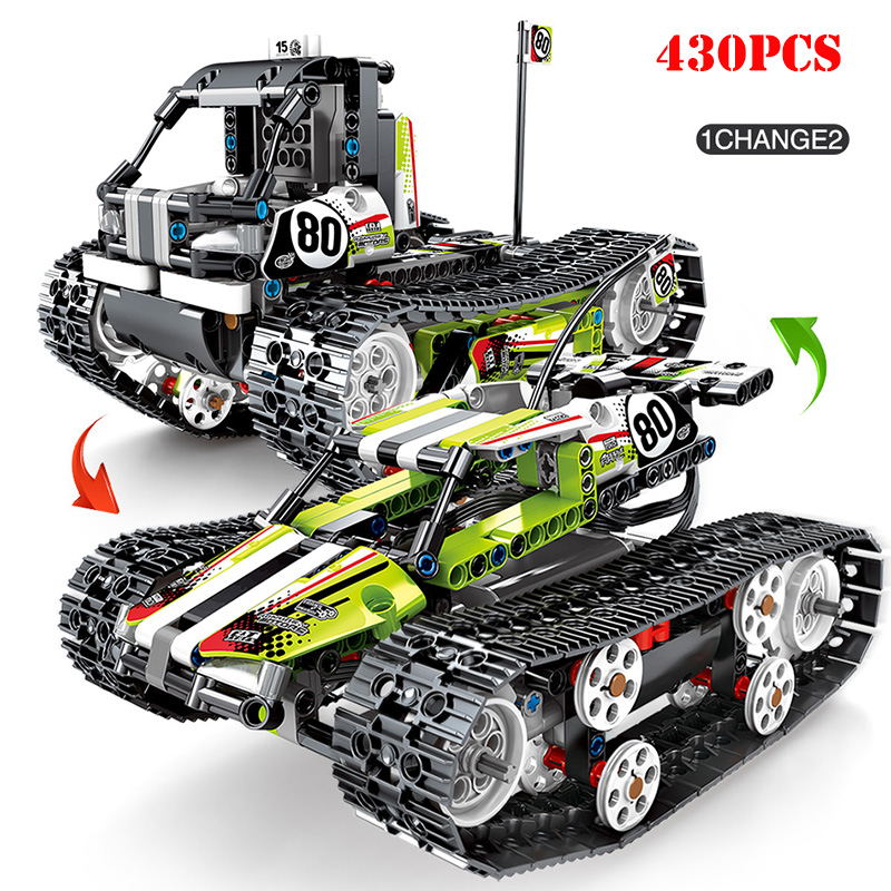 تكنيك RC مدينة تتبع المركبات اللبنات متوافق الطاقة الكهربائية على الطرق الوعرة المسار السيارات Legoed الطوب ألعاب أطفال-في حواجز من الألعاب والهوايات على  مجموعة 1