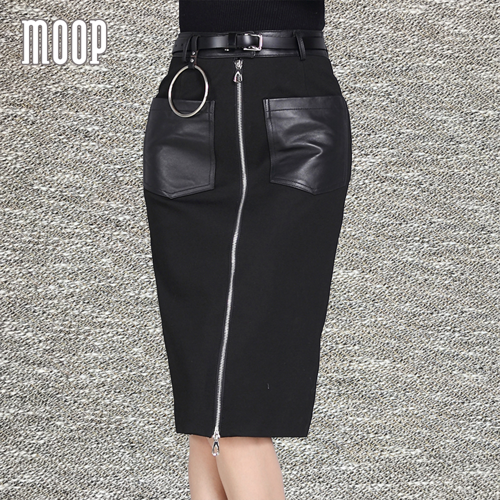 OL style black genuine leather skirts women sheepskin spliced stretch pencil skirt faldas jupe saia etek Free Ship LT1199 retro style ruffles lace spliced pu leather black skirt for women