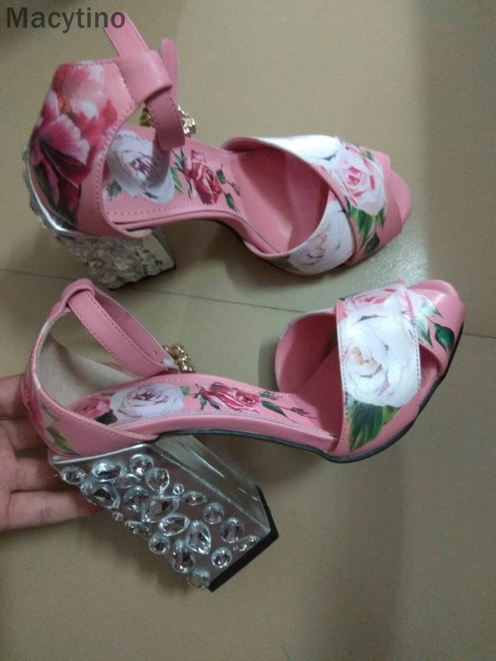 где купить Macytino Flower Printed Sandal Chunky Heels Crystal High Heel Shoes Summer Casual Sandals Real Pictures по лучшей цене