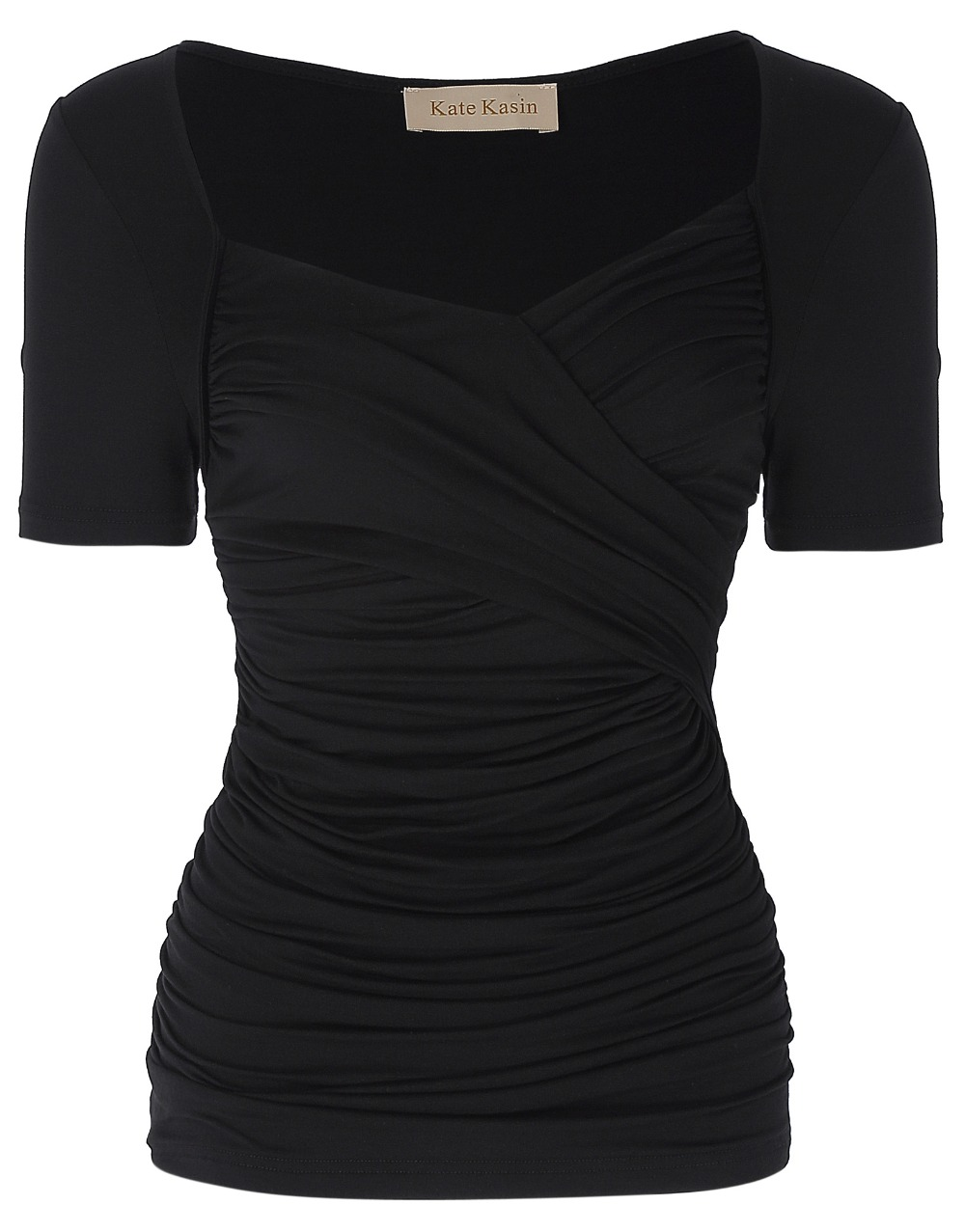 146eeb7a7 New Fashion Slim T Shirt Women Square Neck Short Sleeve Cross Front ...