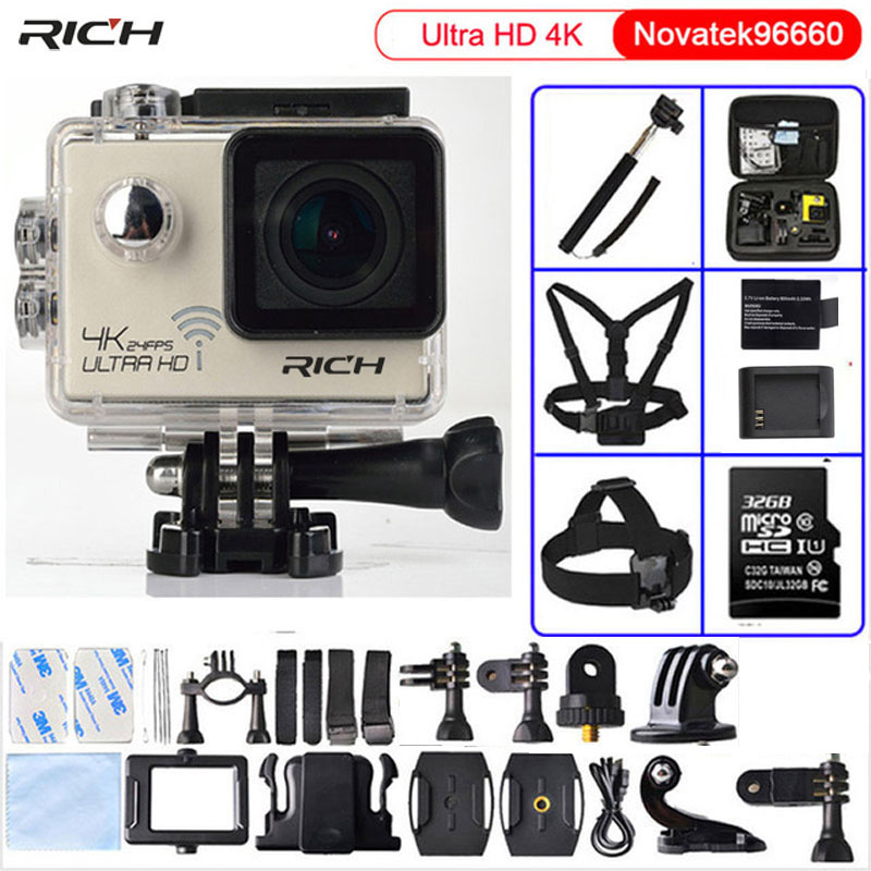 Action camera Ultra HD 4K/24fps 3840*2160 WiFi NTK96660 1080P 60fps Diving go pro Style waterproof 30M Sport Camera original ruisvin s30a 4k wifi full hd 1080p 60fps 2 0 lcd action camera 30m diving go waterproof pro camera ultra hd sports cam