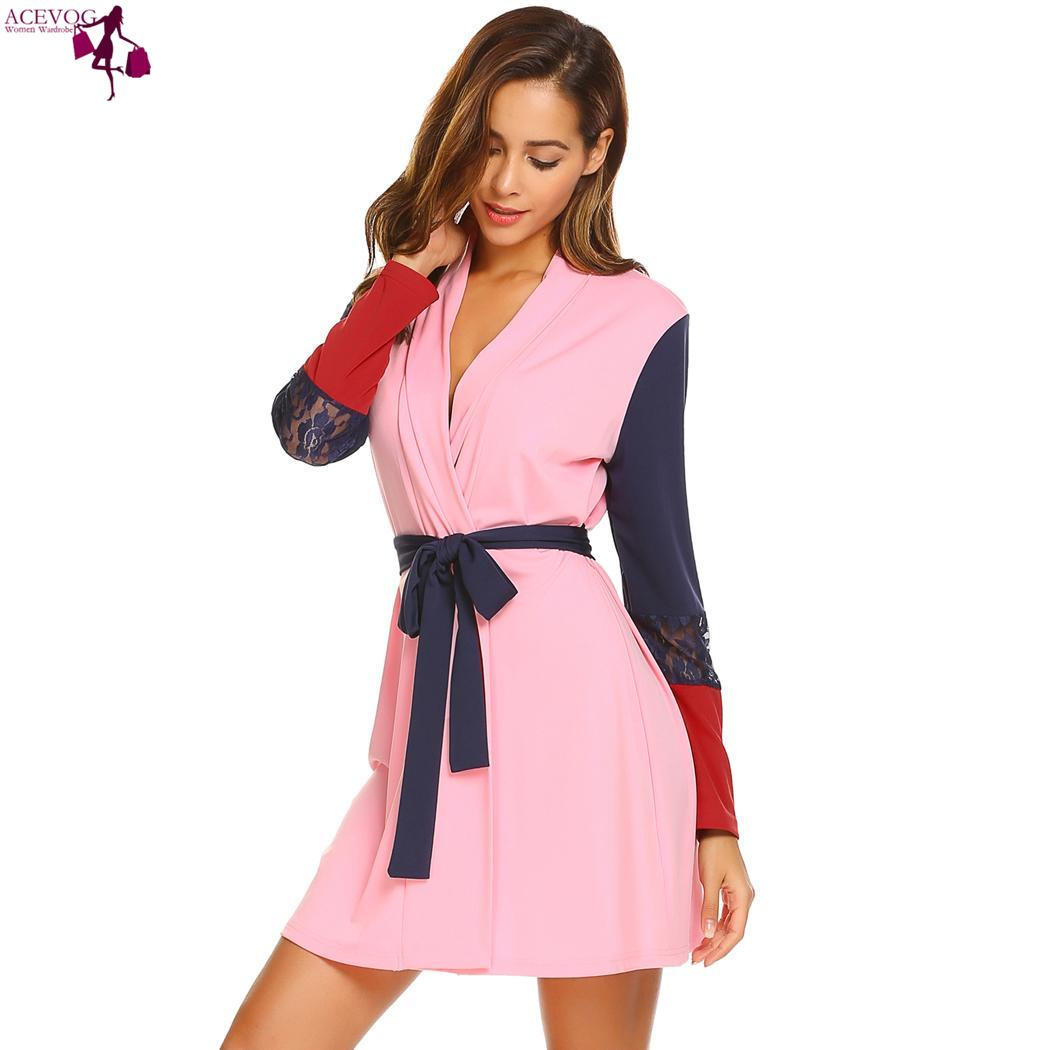 Acevog  belt contrast robe cute feminino fashion  lace sleepwear long women with patchwork sleeve pockets color