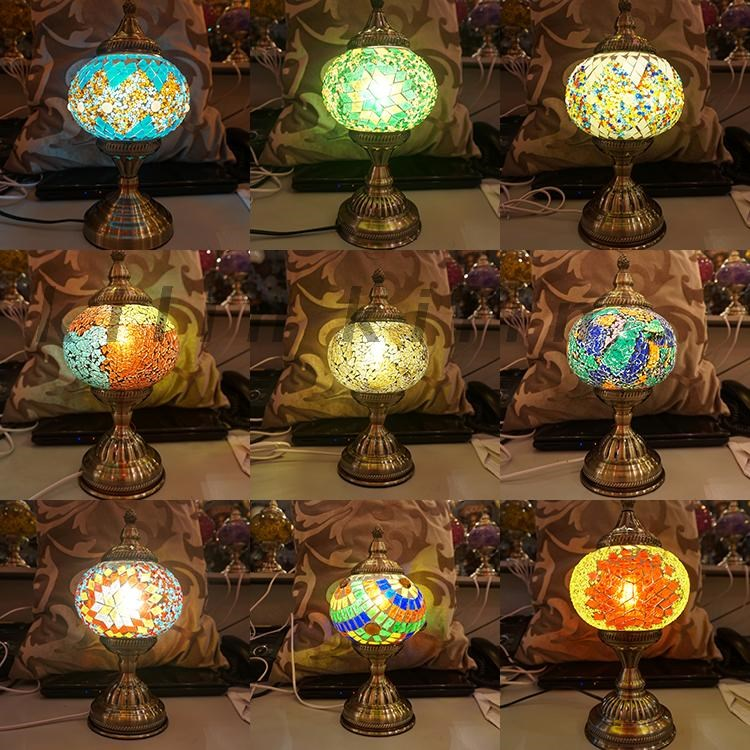 Romantic light E27Hand-inlaid glass mosaic bedroom living room decorative  Table Lamps of Mediterranean nice style Turkish Lamps