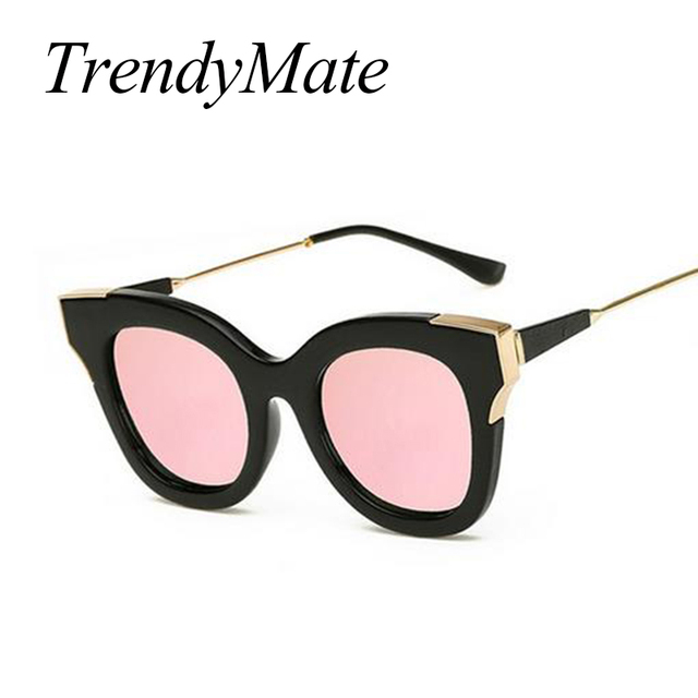 Hot Moda Gato Olho Mulheres Óculos De Sol óculos de Sol Femininos Famosa  Marca Designer Liga 0555e39b02