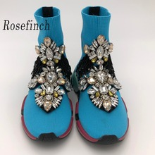 Crystal Gemstone Ankle Boots Rhinestone Shoes Sneakers Woman Blue Women Flats Womens WK112