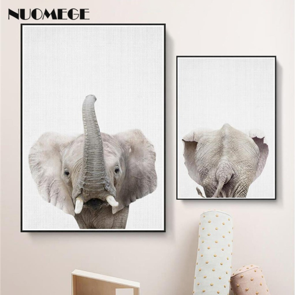 Nordic Simple Black White Wall Art Poster Prints Animal Elephant Canvas Art Painting for Kids Room Decorative Wall Picture african elephant