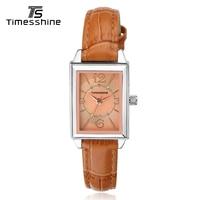 Timesshine Watches Quartz Women Stainless Steel Silver Case Analog Diamonds Waterproof Genuine Leather Clock Geneva Watch