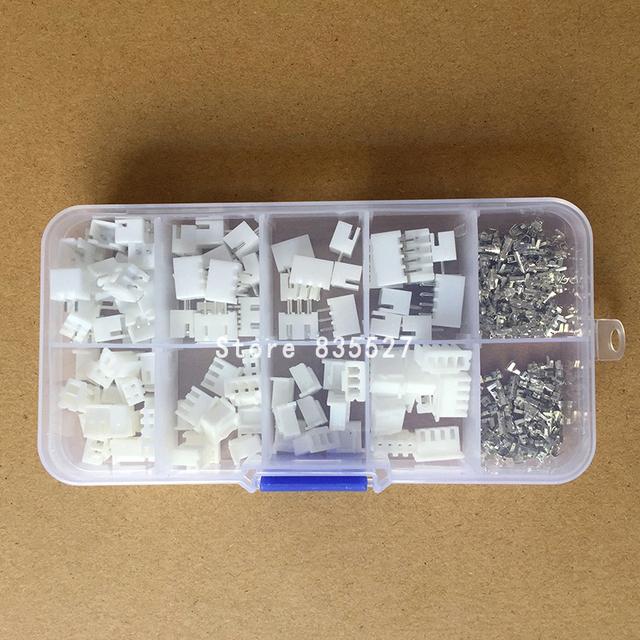 250pcs/lot 50Sets/box kit 2.54mm XH2.54 2p 3p 4 pin Connector plug + straight needle + terminal socket Header wire Adaptor Y A S
