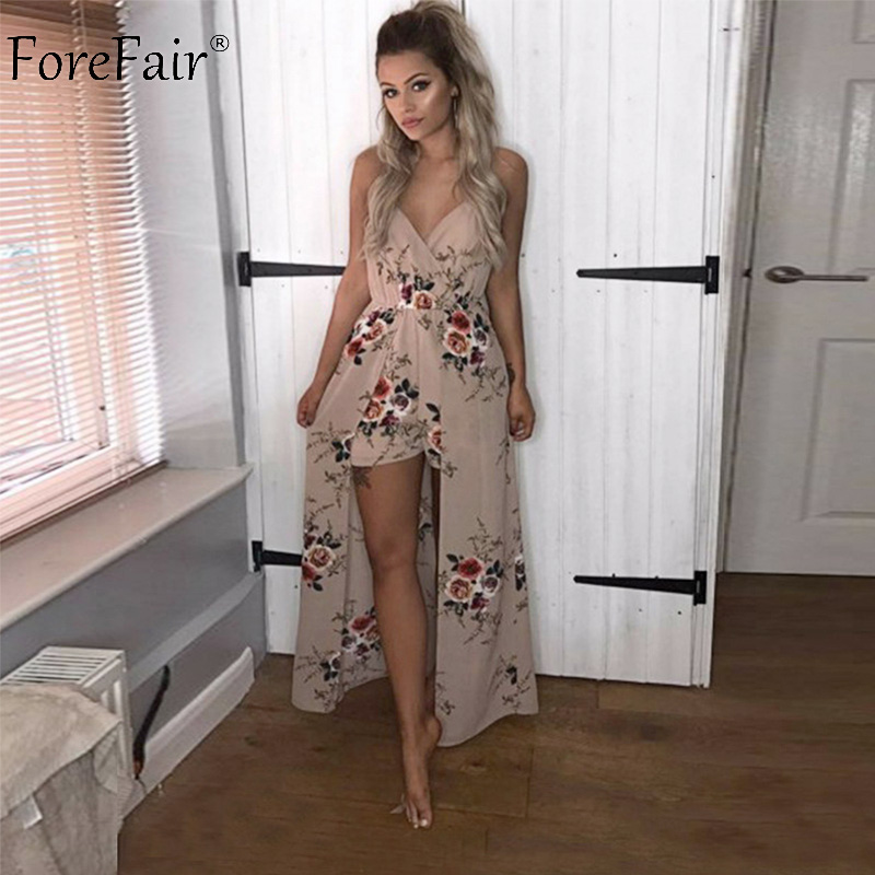 ForeFair Sexy V-neck Women Maxi Rompers Plus Size Female Blue Khaki Split Jumpsuits Summer Boho Long Playsuits 2