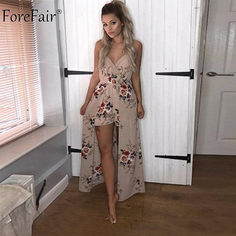 ForeFair Sexy V-neck Women Maxi Rompers Plus Size Female Blue Khaki Split Jumpsuits Summer Boho Long Playsuits 2
