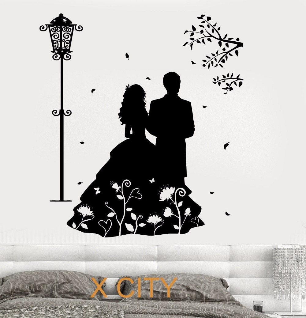 compare prices on modern wall stencil online shopping buy low romantic lovers marry wall art decal sticker removable vinyl transfer stencil mural home decor s m l