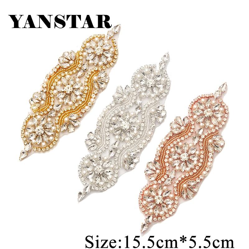 YANSTAR(30pcs) Wholesale Beaded Rhinestones Appliques Patch For Wedding  Dress Belt DIY Accessory YS842 331034fc5758