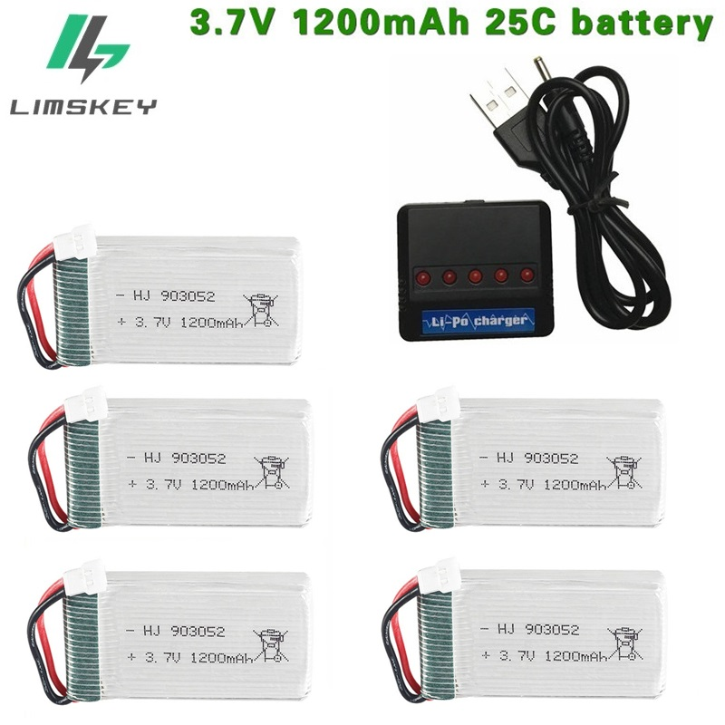 3.7V 1200mAh 25c Lipo Battery And Charger For SYMA X5 X5C X5HW X5SW M18 H5P For RC Camera Droens Qaudcopter Spare Battery Parts
