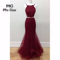 Two Pieces Gown 2018 Burgundy Prom Dresses Long With Appliques Beaded Tulle Dress For Graduation Formal